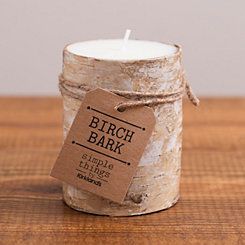 Birch Bark Pillar Candle, 4 in.