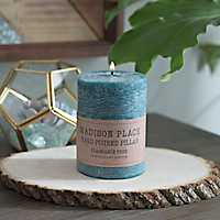 Turquoise Unscented Pillar Candle, 4 in.
