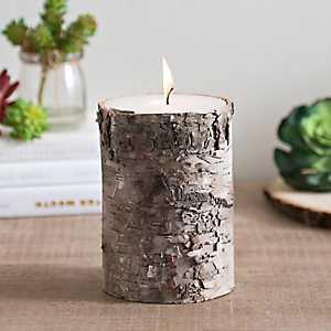 Birch Bark Pillar Candle, 6 in.