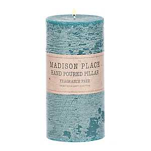 Turquoise Pillar Candle, 6 in.