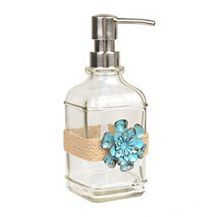 Blue Metal Flower and Twine Soap Pump