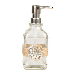Ivory Metal Flower and Twine Soap Pump