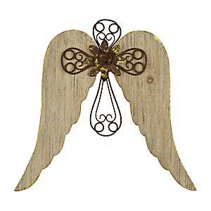 Scroll Cross with Angel Wings Plaque