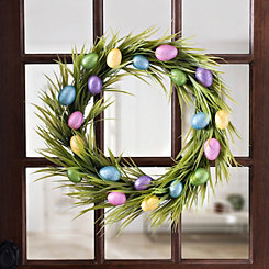 Easter Glitter Eggs Grass Wreath