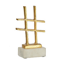 Gold and Marble Hashtag Figurine