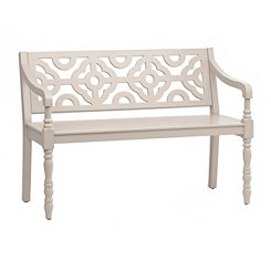 Creamy Gray Geometric Bench