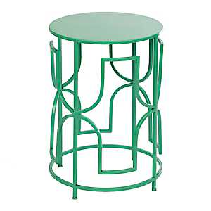 Turquoise Geometric Outdoor Side Table
