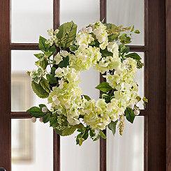 White Hydrangea Mix Wreath