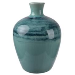 Blue and Navy Striped Ceramic Vase