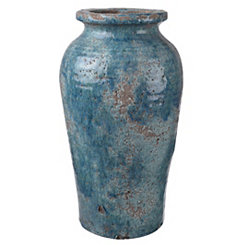 Rustic Distressed Blue Ceramic Vase