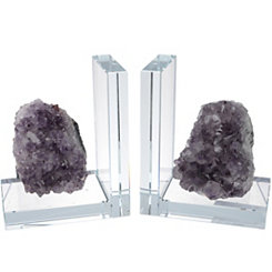 Purple Rock Quartz Bookends, Set of 2