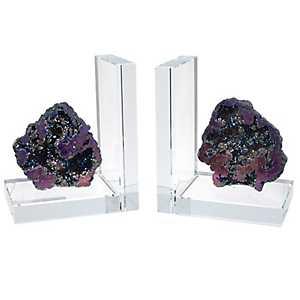 Coral Rock Quartz Bookends, Set of 2