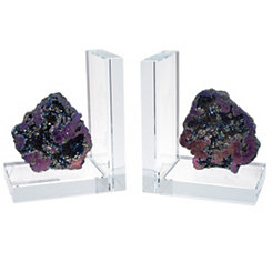 Coral Rock Quartz Bookends, Set of 2