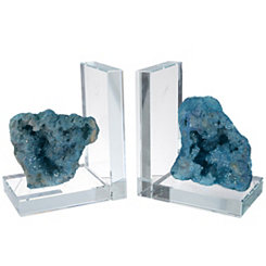 Turquoise Rock Quartz Bookends, Set of 2