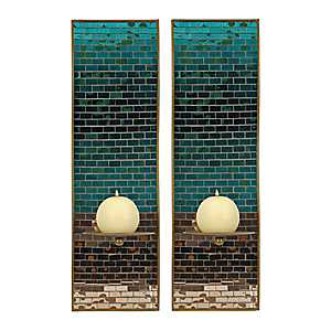 Turquoise Mosaic Glass Luster Sconces, Set of 2