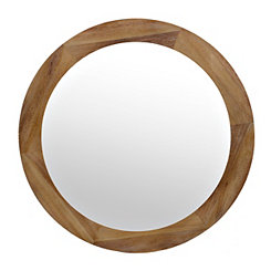 Barrick Round Wood Frame Mirror