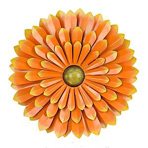 Orange Flower Metal Wall Plaque, 20 in.