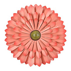 Pink Flower Metal Wall Plaque, 20 in.