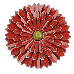 Red Flower Metal Wall Plaque, 20 in.