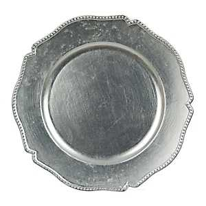 Scalloped Silver Dot Chargers, Set of 4