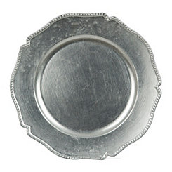 Scalloped Silver Dot Charger