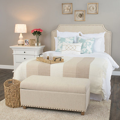 Elizabeth Ivory Studded Queen Headboard