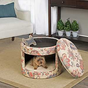 Nellie Floral Round Ottoman Pet Bed