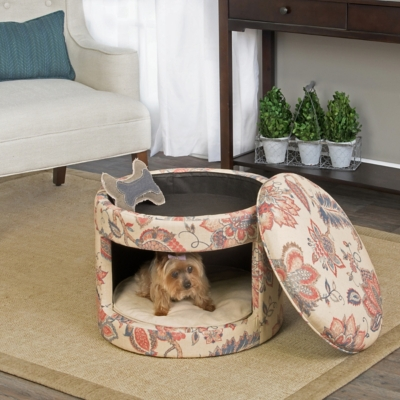Nellie Floral Round Ottoman Pet Bed, Comfortable Pet Beds