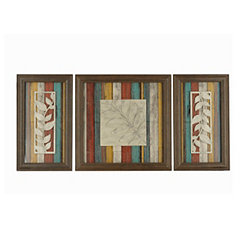 Multi-Colored Leaf Shadowbox, Set of 3