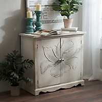 Ivory Hand Painted Floral Wood Cabinet