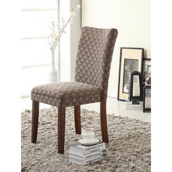 Blue and Brown Damask Diamond Parsons Chair
