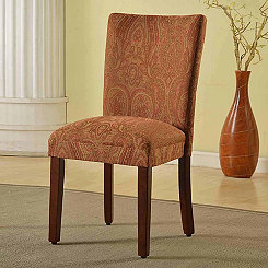 Red and Gold Damask Parsons Chair