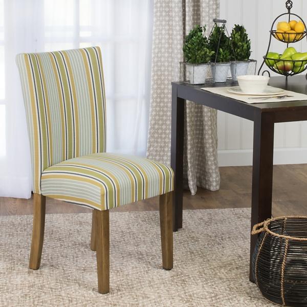 Blue And Green Stripes Parson Chair