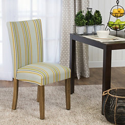 Blue and Green Stripes Parson Chair