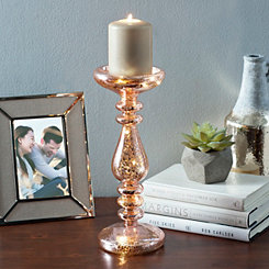 Pre-Lit Rose Gold Candlestick, 12 in.