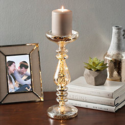 Pre-Lit Silver Candlestick, 12 in.