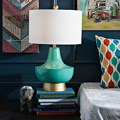 Boho Turquoise and Gold Table Lamp