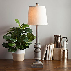 Distressed Gray Buffet Lamp