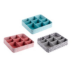 Patterned 9-Section Jewelry Trays