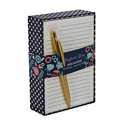 Blue and Gold Dot Notepad with Pen