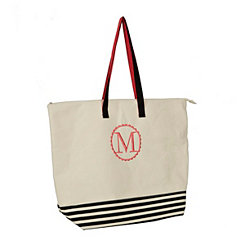 Black Stripe Monogram Tote Bags