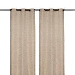Tan Sequin Curtain Panel Set, 96 in.
