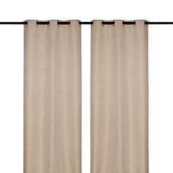 Tan Sequin Curtain Panel Set, 108 in.