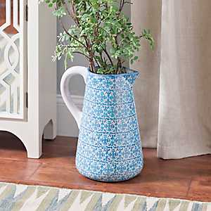 Blue Ombre Medallion Pitcher Vase