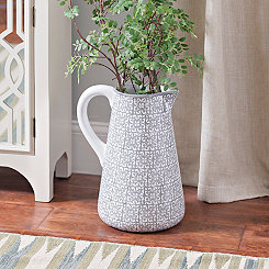 Gray Medallion Pitcher Vase