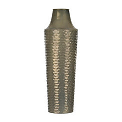 Ribbed Luster Gray Vase