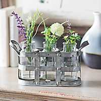 Galvanized Metal Vase Runner Set