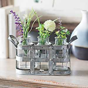 Galvanized Metal Vase Runner Set