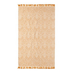 Nina Yellow Floral Medallion Area Rug, 5x7