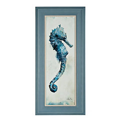 Blue Watercolor Seahorse II Framed Art Print